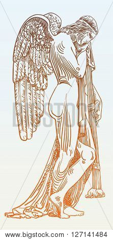 digital sketch drawing of marble statue sad angel in St. Peters Cathedral, Rome, Vatican, Italy, vector illustration