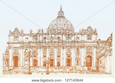 St. Peters Cathedral Rome Vatican Italy. Hand drawing of Saint Pietro Basilica, vector illustration
