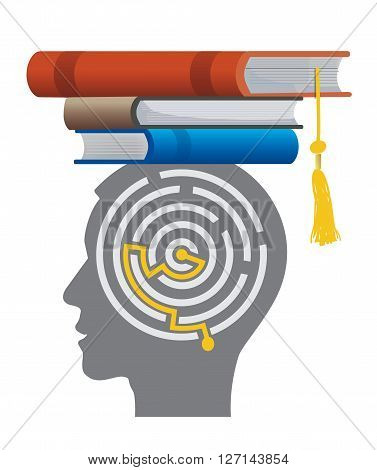 Graduate With Book And Maze. Stylized male head silhouette with maze and with books on the head symbolizing mortarboard. Vector available.