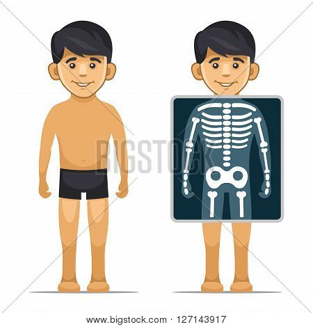 Two Cartoon Style Boy with X-ray Screen and Skeleton. Vector illustration