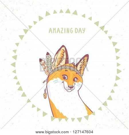 Character cute and beautiful funny fox with feathers in ethnic style. Vector illustration