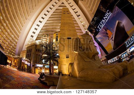 LAS VEGAS, NEVADA - SEPTEMBER 8, 2015: Interior view of the Luxor Casino on the Las Vegas Strip on September 8, 2015. The Luxor Casino is a famous and popular luxury casino in Vegas.