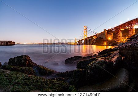 ?San Francisco, Golden Gate Bridge and the bay at sunset