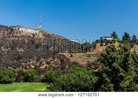 HOLLYWOOD, LOS ANGELES - SEPTEMBER 11, 2015: Views of the Lake Hollywood Park and the Hollywood sign in the background on September 11, 2015. The Park is popular by tourist for taking pictures of the sign.