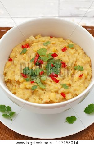 Pease Pudding With Coriander And Chilli In The Bowl