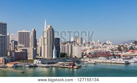 SAN FRANCISCO, CALIFORNIA - SEPTEMBER 17, 2015: View from Treasure Island to San Francisco on September 17, 2015.