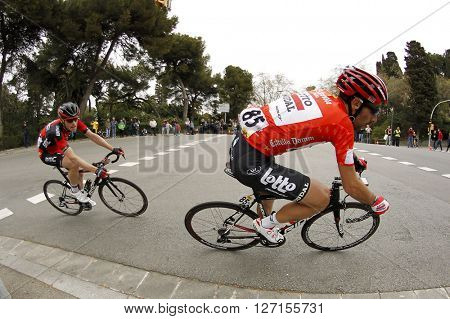 BARCELONA - MARCH, 27: Thomas De Gendt(R) of Lotto Soudal and Ben Hermans(L)  of BMC Racing during the Catalonia cycling race through the streets of Monjuich mountain in Barcelona on March 27, 2016