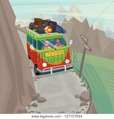 Young couple on funny hippie bus rides very carefully along a narrow mountain serpentine - Exotic holidays or Dangerous journey concept