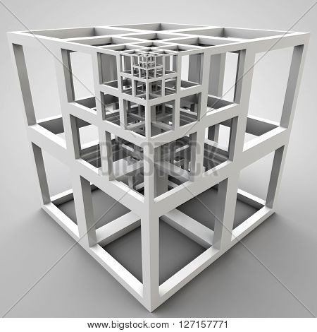 3D illustration of abstract carcass cube construction