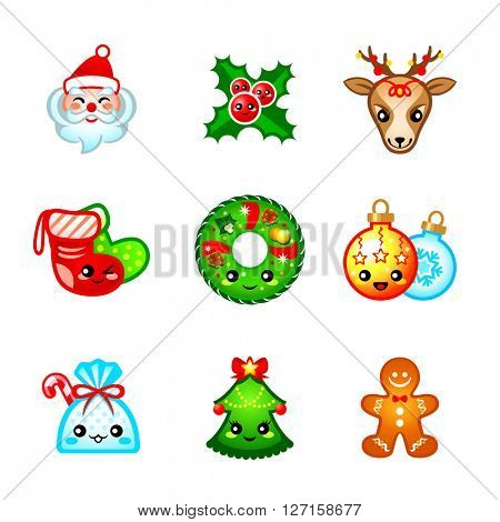Cute icons with traditional Christmas symbols