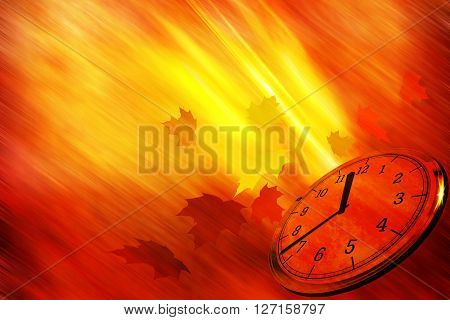 Autumn time background with a clock and leaves falling