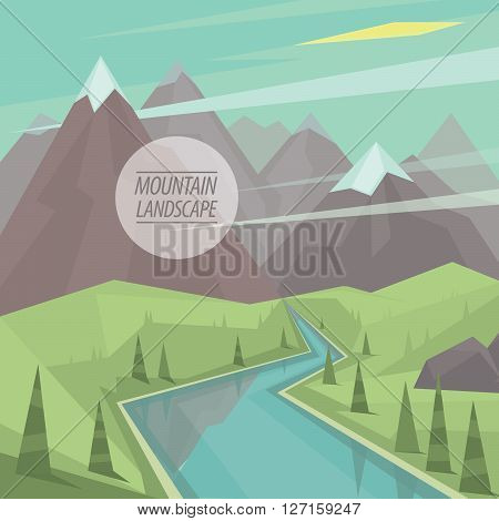 Beautiful summer picturesque mountain landscape with valley winding mountain river trees and snowy peaks in the fashionable flat style and square ratio