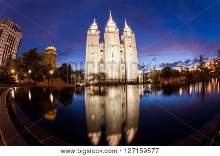 SALT LAKE CITY UTAH - AUGUST 30: Exterior views of the The Church of Jesus Christ of Latter-day Saints by sunset on August 30 2015. Iis a Christian restorationist church in Salt Lake City.