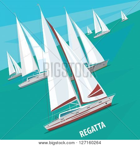 Large number of sailing boats floating right. Side view. Signature Regatta - Race sailing yachts or Parade of ships concept
