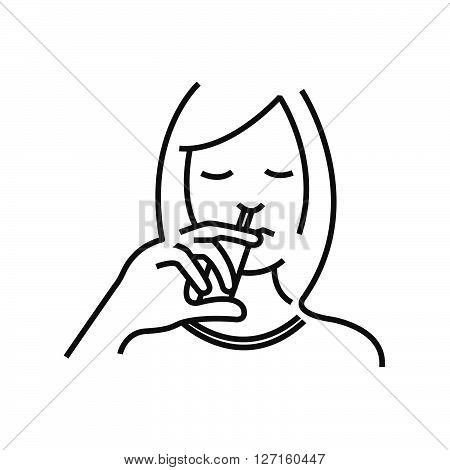 Otolaryngology using nasal spray icon line icon Style