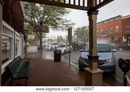 DURANGO COLORADO - AUGUST 27: Exterior views of the of the city center of Durango on a rainy day on August 27 2015. Durango is in state of Colorado and a popular tourist destination.