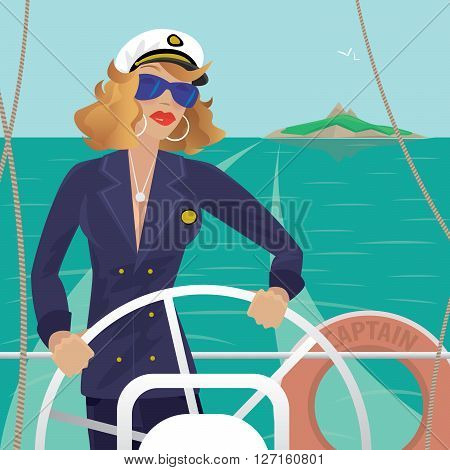 Serious female sea captain standing on the deck of the ship and rotates ship steering wheel. Sunny weather. Behind you can see the island - Profession or Sailor concept poster