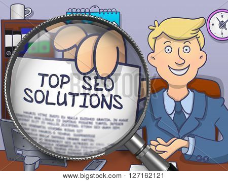 Top SEO Solutions. Paper with Inscription in Officeman's Hand through Magnifying Glass. Multicolor Modern Line Illustration in Doodle Style.