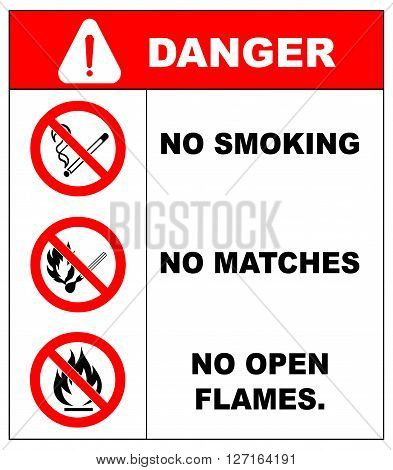 No smoking, No open flame, No matches. Fire, open ignition source and smoking prohibited signs. Dangerous symbols set. Warning sheet.