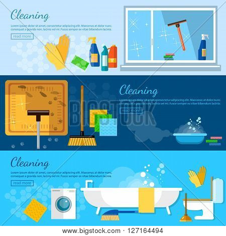 Cleaning service banners home cleaning cleaning in the bathroom washing windows carpet cleaning washing dishes