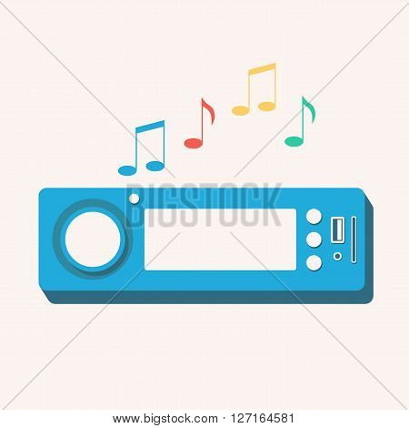 Car radio. Isolated icon. Vector illustration. Flat design. Auto sound