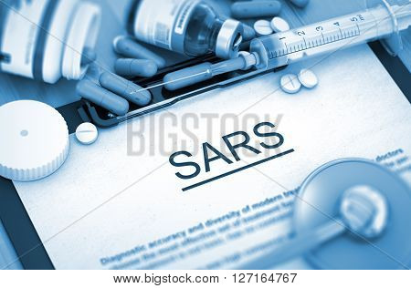 Diagnosis - SARS On Background of Medicaments Composition - Pills, Injections and Syringe. 3D Render.
