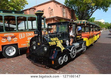 KEY WEST, FL, USA - JAN 1: Key West Conch Tour Train on Jan 1st, 2015 in downtown Key West, Florida, USA.