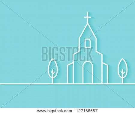 Christian Church Building Vector Background. Flat Outline Style