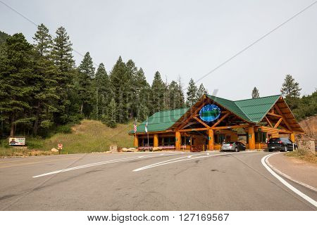 ?pikes Peak, Colorado - August 26: Views Of The Pikes Peak Toll Gate On Foot Of The Mountain On Augu
