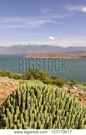 View over Barrage Bin El-Ouidane high Atlas Morocco. ** Note: Soft Focus at 100%, best at smaller sizes
