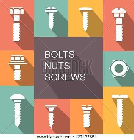 Bolts, nuts and screws colored icons set