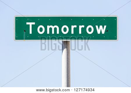 Street name sign with the word Tomorrow