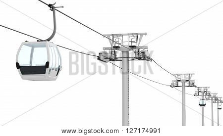 Funicular and cable car isolated on white background. 3d rendering.