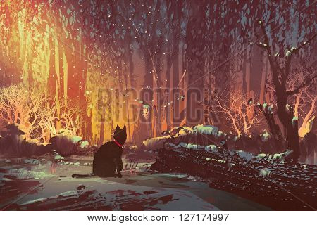 lost cat in the forest with mystic light, illustration painting