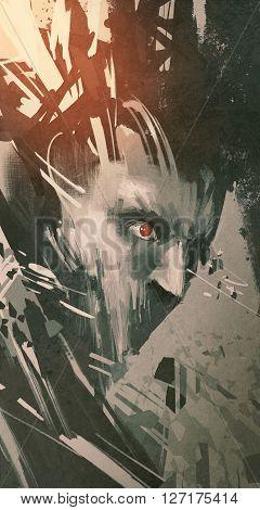 man face with modern grunge, sci-fi style, illustration digital art