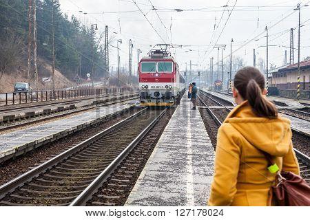Train Is Arriving Into The Railway Station Of Ruzomberok, Slovakia