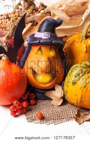 Halloween Lantern And Pumpkins