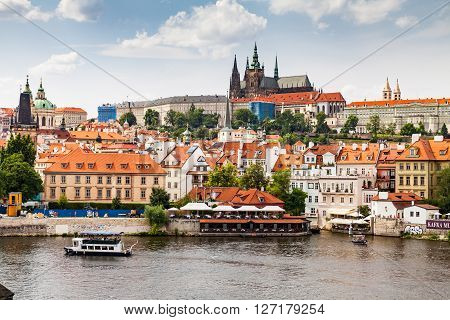 Prague, Czech Republic - July 18: View To The Charles Bridge On July 18, 2015. Prague Is The Capital