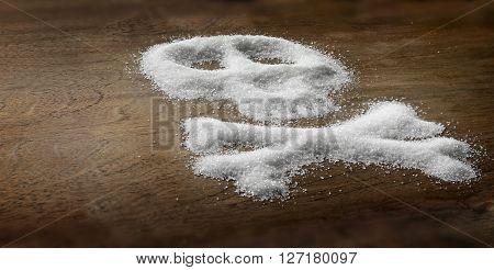 Sugar Skull and bones. Unhealthy white sugar concept.