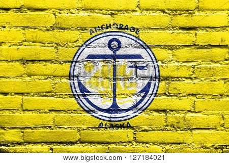 Flag Of Anchorage, Alaska, Painted On Brick Wall