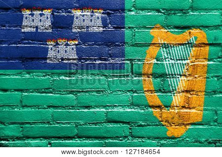 Flag Of Dublin, Painted On Brick Wall