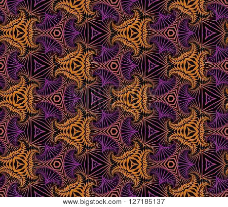Abstract modish seamless ornamental pattern of fractal shapes in violet orange and black shades