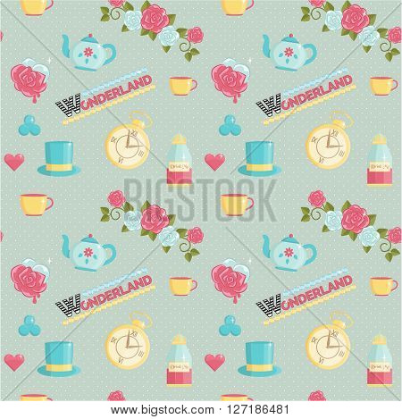 Lovely wonderland themed seamless vector pattern. Roses playing card elements teatime set magic potions on dotted background.