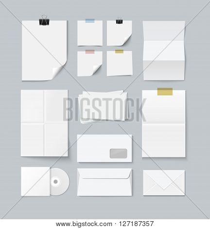 Branding set of paper templates. Various paper sheets and pieces with paper clip, scotch tape and curl. Letter template, post it paper, folded paper and cd cover. Collection of realistic vector paper