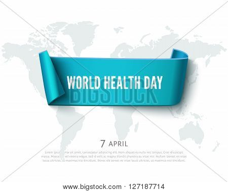 World Health day concept with blue curved paper ribbon banner, world map and space for text, realistic vector paper background. Paper ribbon web banner. Conceptual illustration for Health day