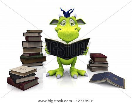 Niedliche Cartoon-Monster, ein Buch zu lesen.
