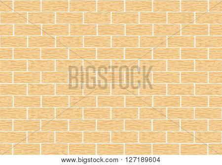 Masonry of yellow brick . Vector illustration. Horizontal location.