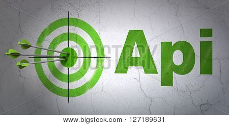 Success Software concept: arrows hitting the center of target, Green Api on wall background, 3D rendering