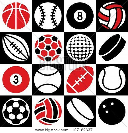 Generic game ball icons on a black and white checkered background. Can also be used as a seamless pattern.