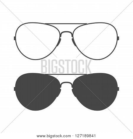 Aviator sunglasses. Sunglasses icon. Outline and solid design. Glasses vector illustration.